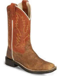 Old West Boys' Vintage Tan Cowboy Boots - Square Toe, , hi-res