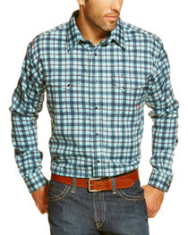 Ariat Men's Navy Flame Resistant Trenton Plaid Long Sleeve Work Shirt - Tall , , hi-res