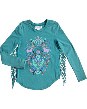 Shyanne Girls' Fringe Trim Long Sleeve Shirt, Teal, hi-res