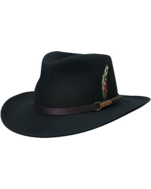 Scala Men's Black Crushable Wool Felt Outback Hat, Black, hi-res