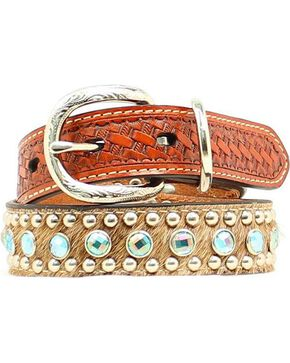 Double Barrel Embellished Basketweave & Hair-on Hide Dog Collar - XS-XL, Tan, hi-res