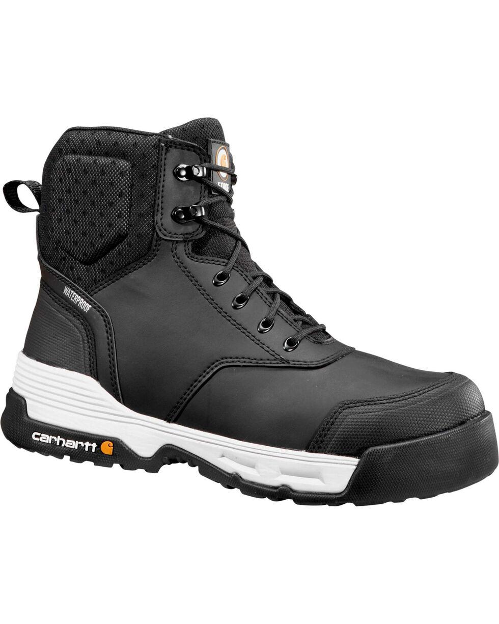 """Carhartt Force Men's 6"""" H2O Black Work Boots - Comp Toe, Black, hi-res"""