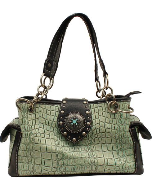 Blazin' Roxx Women's Gator Embossed Handbag, Turquoise, hi-res