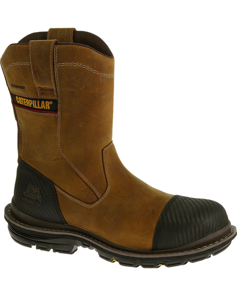 CAT Men's Fabricate Pull-On Tough WP Comp Toe Work Boots, Light Brown, hi-res