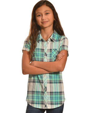Derek Heart Girls' Blue Short Sleeve Button Down Shirt, Blue, hi-res