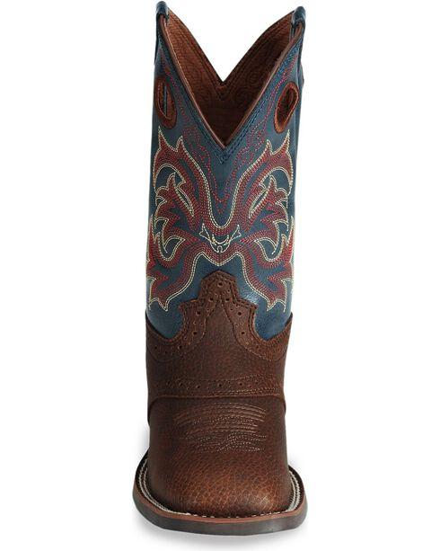 Justin Boys' Stampede Cowboy Boots - Square Toe, Dark Brown, hi-res