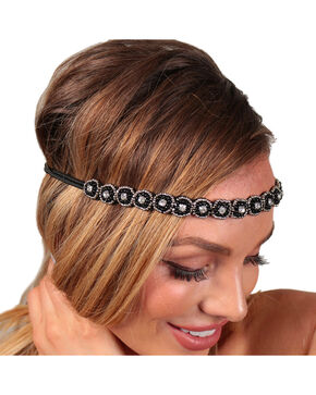 Shyanne® Women's Rhinestone & Bead Headband, Black, hi-res