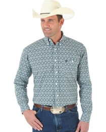 Wrangler George Strait One Pocket Black and White Print Poplin Shirt, , hi-res