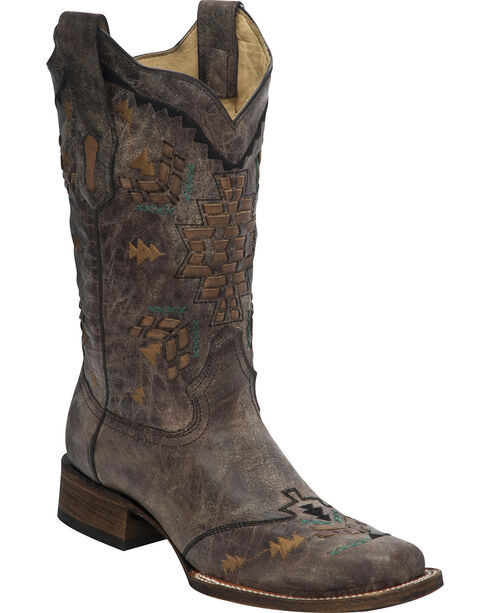 Corral Women's Canco Woven Western Boots, Tobacco, hi-res