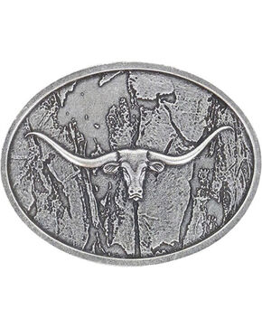 Cody James® Men's Wood Grain Longhorn Buckle, Silver, hi-res