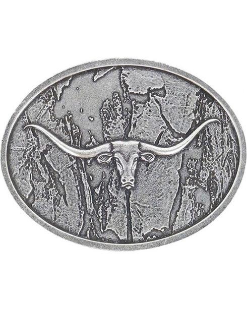 Cody James® Men's Wood Grain Longhorn Buckle, Silver, hi-res