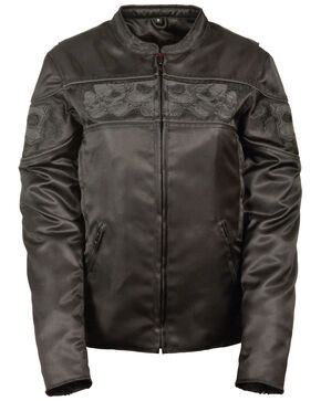 Milwaukee Leather Women's Reflective Skull Crossover Textile Scooter Jacket, Black, hi-res