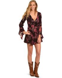Shyanne Women's Floral Long Sleeve Velvet Jacquard Dress, , hi-res
