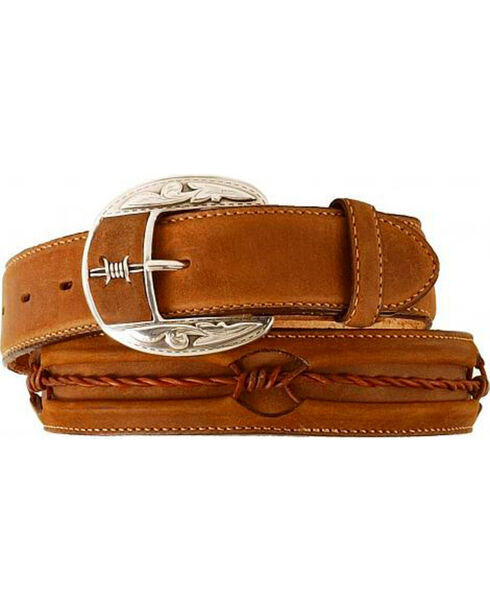 Justin Men's Fenced In Belt, Brown, hi-res