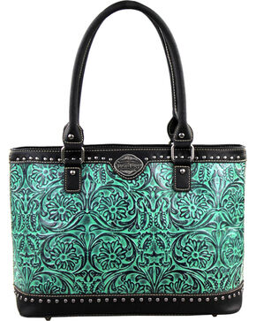 Montana West Trinity Ranch Turquoise Tooled Design Handbag, Black, hi-res