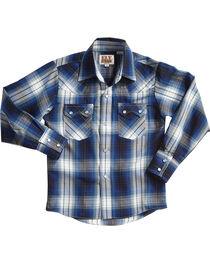 Ely Cattleman Boys' Blue Textured Plaid Long Sleeve Shirt , , hi-res
