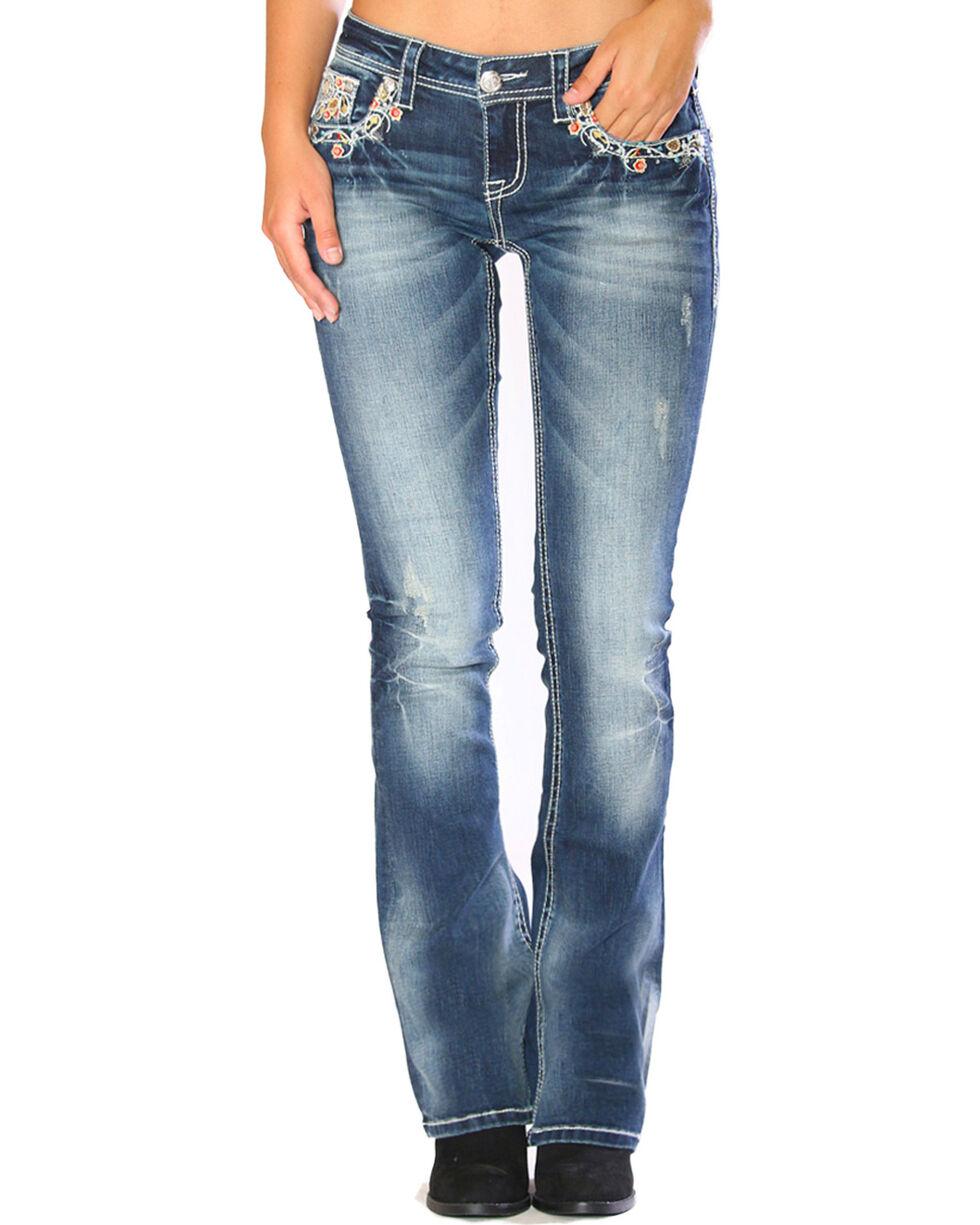 Grace in LA Women's Blue Floral Embroidered Flap Jeans - Boot Cut, Blue, hi-res