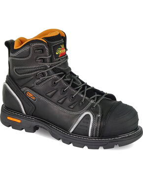 """Thorogood Men's GenFlex2 6"""" Lace To Toe Work Boots - Composite Toe, Black, hi-res"""