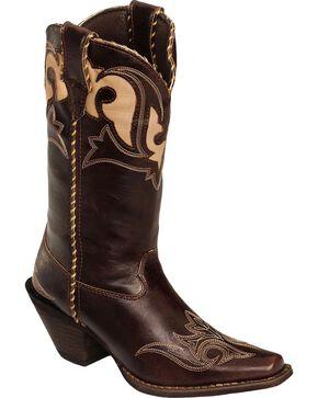 Durango Women's Peek-A-Boot Western Boots, Dark Brown, hi-res
