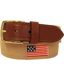 Danbury Men's Khaki American Flag Leather Belt, , hi-res