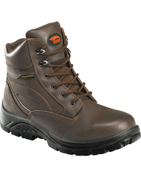 "Avenger Men's 6"" Steel Toe Lace Up Work Boots, Brown, hi-res"