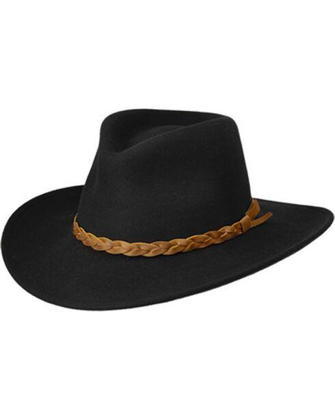 Master Hatters Men's Traveler Black Crushable Hat, Black, hi-res