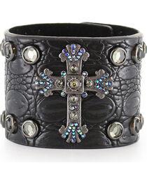 Shyanne® Women's Cross and Rhinestone Snap Bracelet, , hi-res