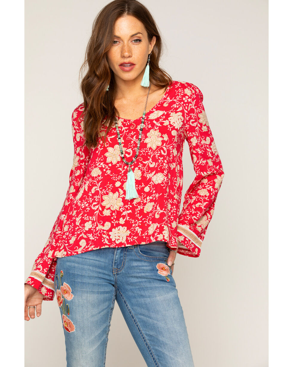 Shyanne Women's Floral Bell Sleeve Top, Pink, hi-res