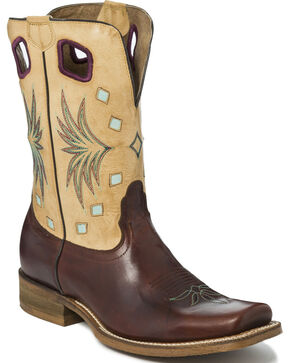 "Nocona Men's 11"" Embroidered Square Toe Western Boots, Brown, hi-res"