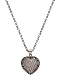 Montana Silversmiths Beaded Pave Heart Necklace, , hi-res