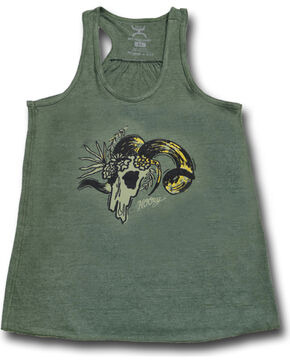 Hooey Women's Sleeveless Ram Tank , Olive, hi-res