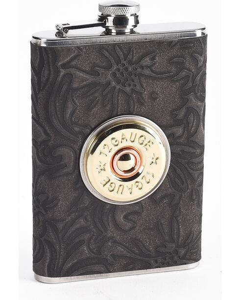 BB Ranch Black Shot Shell 8OZ Flask     , Black, hi-res