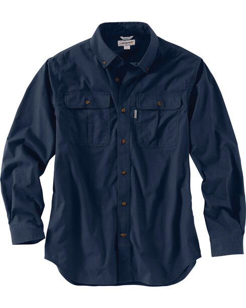 Carhartt Men's Foreman Long Sleeve Work Shirt, Navy, hi-res