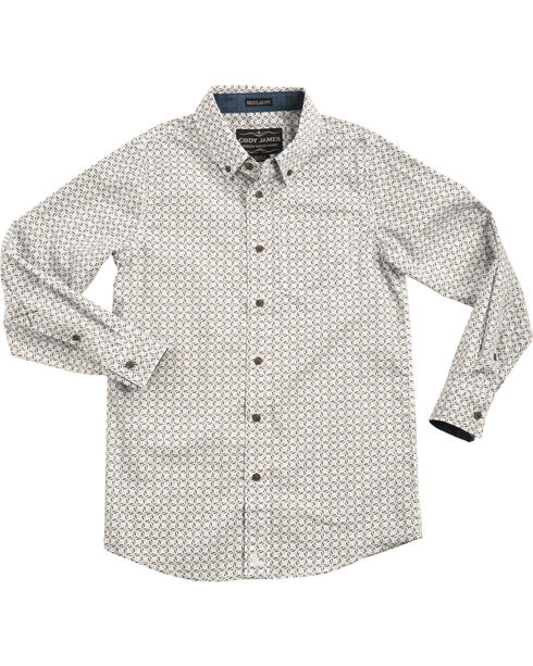 Cody James Boys' Starburst Patterned Long Sleeve Shirt, White, hi-res