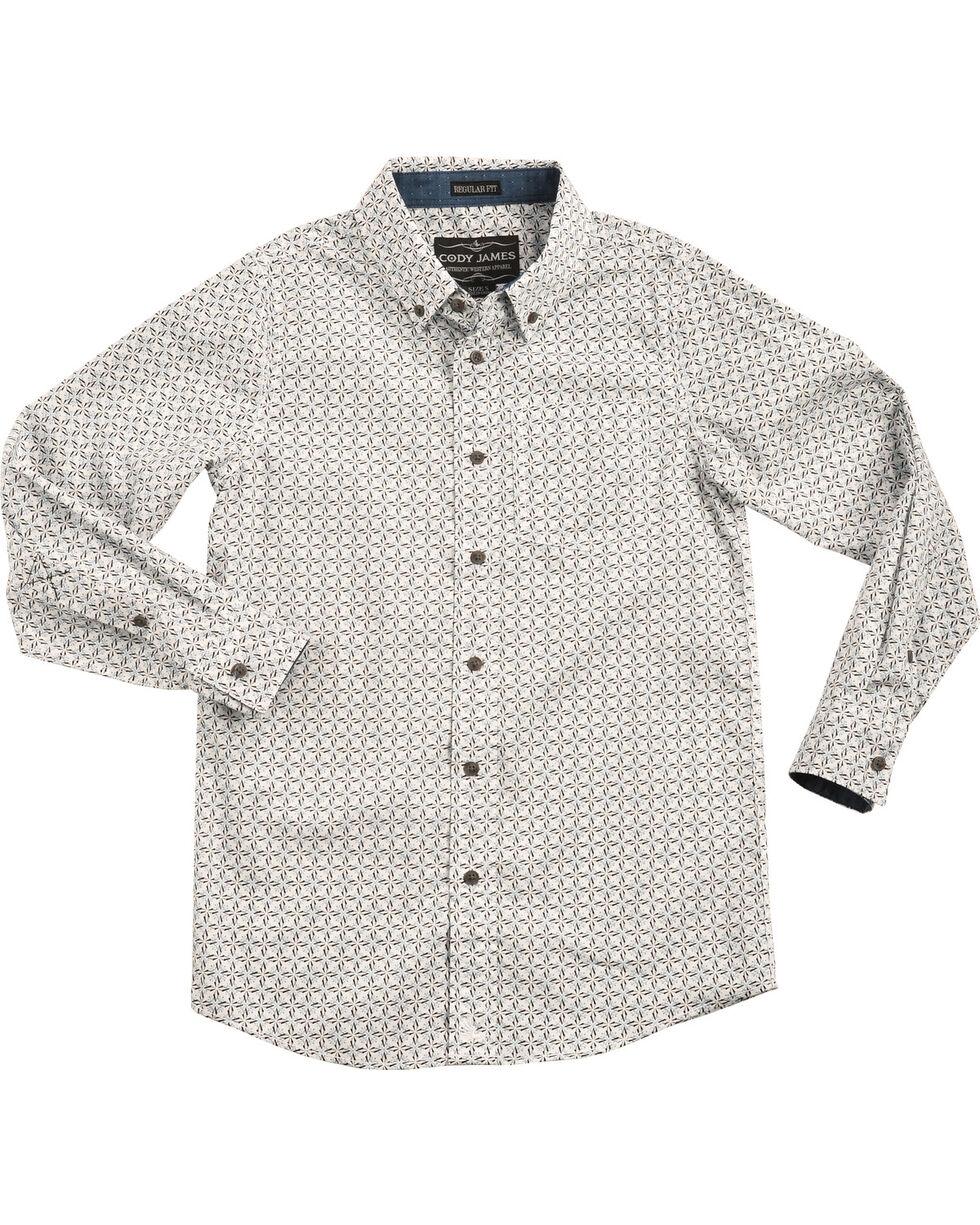 Cody James Boys' Starburst Patterned Long Sleeve Shirt, White, hi-res