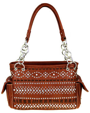 Montana West Women's Bling and Stitched Pattern Concealed Carry Satchel , Brown, hi-res
