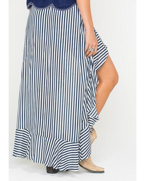 Miss Me Women's Cold Shoulder Romper with Maxi Skirt, Navy, hi-res
