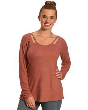 Derek Heart Women's Raglan Top with Cutout Strap, Brown, hi-res