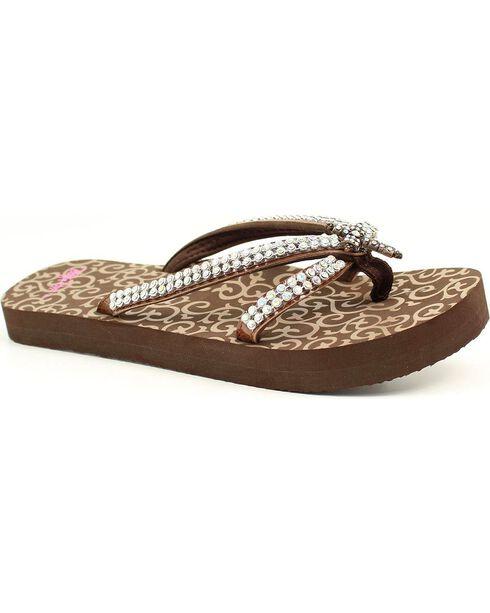 Blazin Roxx Hayley Cross Flip Flops, Brown, hi-res