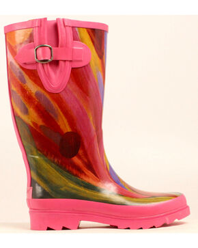 Blazin Roxx Rose Watercolor Rain Boots - Round Toe, Multi, hi-res