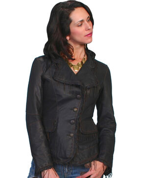 Scully Women's Fringe Lamb Leather Jacket, Black, hi-res