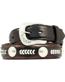 Nocona Leather Overlay & Laced Concho Belt, , hi-res