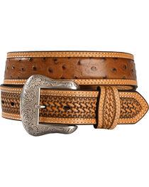 Basketweave Ostrich Print Leather Belt, , hi-res