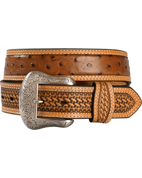 Basketweave Ostrich Print Leather Belt, Cognac, hi-res