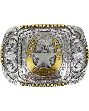 Cody James® Men's Horseshoe Texas Belt Buckle, Silver, hi-res