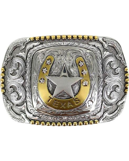 Cody James® Men's Horseshoe Texas Belt Buckle, Silver, hi-res