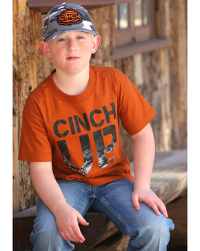 Cinch Boys' Graphic Logo Tee, Orange, hi-res
