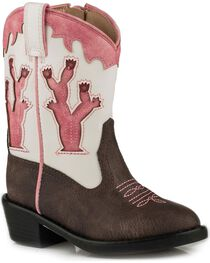 Roper Toddler Girls' Brown Desert Lights Cowgirl Boots - Round Toe, , hi-res