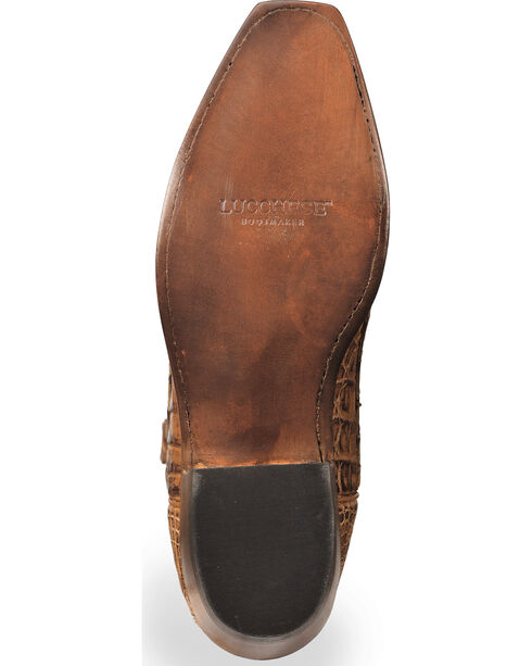 Lucchese Men's Handmade Tan Franklin Hornback Caiman Tail Boots - Square Toe , Tan, hi-res