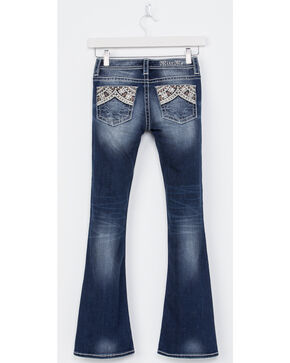 Miss Me Girls' Indigo Embroidered Pocket Jeans - Boot Cut , Indigo, hi-res